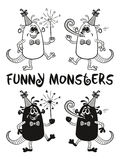 Contour and Silhouette Monsters Set Royalty Free Stock Image