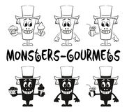 Contour and Silhouette Monsters Set Royalty Free Stock Photo