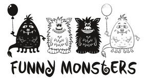 Contour and Silhouette Monsters Set Stock Photos