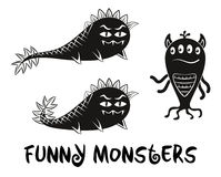 Contour and Silhouette Monsters Set Stock Photography