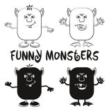 Contour and Silhouette Monsters Set Royalty Free Stock Photos