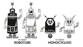 Contour and Silhouette Robots Set Stock Image