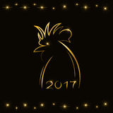 Contour silhouette of rooster in gold color - a symbol of the year 2017 Stock Images