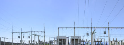 Contour silhouette. Substation, powerhouse. High-voltage line. Poles, cable. Contour silhouette. Substation, powerhouse. High-voltage line Poles cable Background Royalty Free Stock Photos
