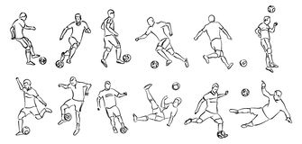 Contour silhouettes of football players Royalty Free Stock Photos