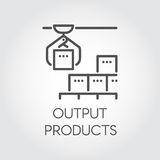 Contour simple label of output products concept. Modern equipment for factories and plants theme. Logo in linear style Stock Photos