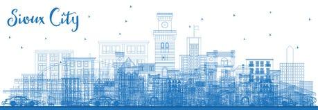 Contour Sioux City Iowa Skyline avec les bâtiments bleus illustration stock