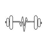 Contour sketch dumbbell with symbol life. Vector illustration Stock Images