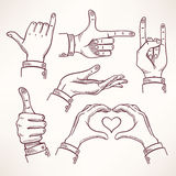 Contour sketch hands - 1 Royalty Free Stock Image