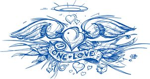 Contour sketch of a heart with wings in a hand drawing style. A sketch of a tattoo.  royalty free illustration