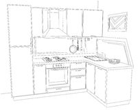 Contour sketch three dimensional illustration of modern corner kitchen interior black and white. Stock Photos