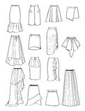 Contour of skirts with asymmetry and folds Royalty Free Stock Photo