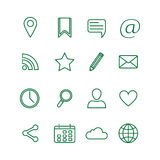 Contour social media icons set Royalty Free Stock Images