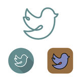 Contour social network bird icon and stickers set Stock Photography