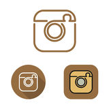 Contour social network cam icon and srtickers set Royalty Free Stock Image