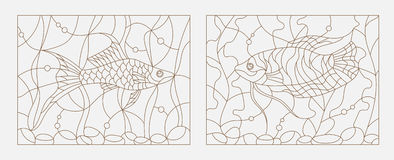 Contour stained glass illustration of aquarium fish amid seaweed and bubbles Stock Images