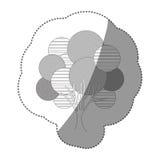 Contour stamp creative tree icon. Illustraction design image Stock Photo