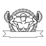 contour sticker frame with muscle man lifting a disc weights and label Royalty Free Stock Photography