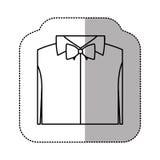 contour sticker shirt with bow tie icon Royalty Free Stock Photos