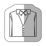 Contour sticker shirt with bow tie and waistcoat. Illustraction design Stock Photos