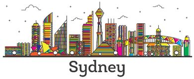 Contour Sydney Australia City Skyline avec des bâtiments Isola de couleur illustration stock