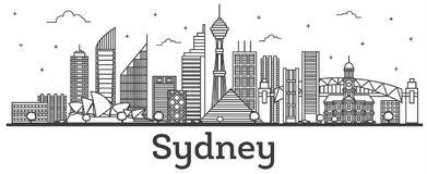 Contour Sydney Australia City Skyline avec l'isolant moderne de bâtiments illustration libre de droits