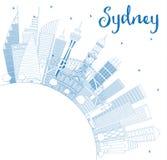 Contour Sydney Australia City Skyline avec les bâtiments bleus et la Co illustration de vecteur