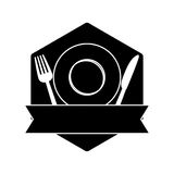 Contour table with plate, fork and knife. Icon image design royalty free illustration