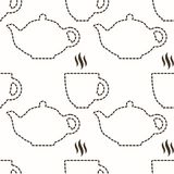 Contour of teapot and cup abstract seamless pattern Royalty Free Stock Photography