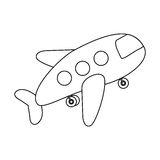 contour toy airplane fly icon Stock Photography