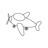 contour toy airplane fly icon Stock Images