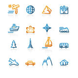 Contour travel icons. Color contour travel icons on the white background Stock Photos