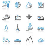Contour travel web icons Royalty Free Stock Photography