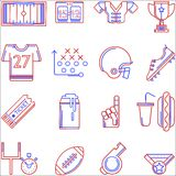 Contour two colored icons for American football Royalty Free Stock Photography