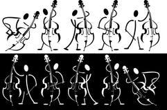 Contour van de musicus die op het instrument speelt Stock Fotografie
