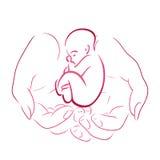 Contour van vrouwelijke handen met een baby royalty-vrije illustratie