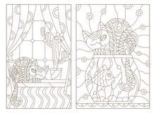 Contour vastgestelde illustratie in het venster van de gebrandschilderd glasstijl met gordijnen en een cactus en een kat op de ve royalty-vrije illustratie