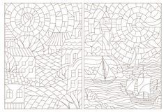 Contour vastgestelde illustratie met gebrandschilderd glasvensters met landschappen, stad en zeegezichten royalty-vrije illustratie