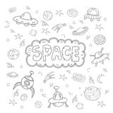 Contour vector hand drawn doodles cartoon set of Space objects and symbols Royalty Free Stock Image
