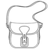 Contour vector illustration. Ladies fashion bag Royalty Free Stock Photography