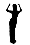 Contour of woman. Silhouette of woman in evening dress isolated Royalty Free Stock Image