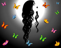 Contour of woman & butterflies. Contour of beautiful girl over moonlight looking colorful butterflies Royalty Free Stock Images