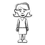 Contour woman with casual cloth icon Stock Photos