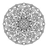 Contour, zwart-wit Mandala etnisch, godsdienstig ontwerpelement Stock Foto's