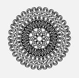 Contour, zwart-wit Mandala etnisch, godsdienstig ontwerpelement Stock Afbeelding
