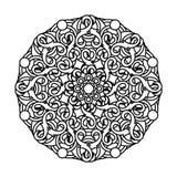 Contour, zwart-wit Mandala etnisch, godsdienstig ontwerpelement Royalty-vrije Stock Afbeeldingen