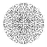 Contour, zwart-wit Mandala etnisch, godsdienstig ontwerpelement Royalty-vrije Stock Fotografie