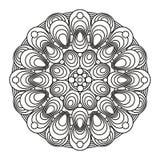 Contour, zwart-wit Mandala etnisch, godsdienstig ontwerpelement met een cirkelpatroon Royalty-vrije Stock Foto's