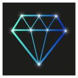 Contourdiamant op een zwarte achtergrond, met Royalty-vrije Stock Afbeeldingen