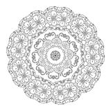 Contoured asian style flowers. In mandala shape. zen style picture for anti stress drawing or colouring book. Hand-drawn, retro, doodle, vector, for coloring Royalty Free Stock Images